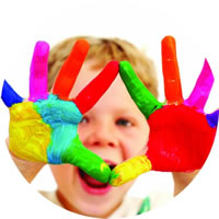 Smiling Boy Showing Coloured Hand | Fastrackids